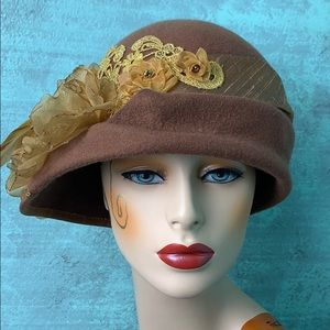 Accessories - Custom brown gold free form cloche hat